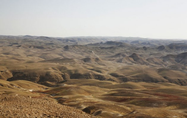 The rolling hills of the southern West Bank landscape seen from the Rashayda camp along the Abraham Path. Rashayda, West Bank. Credit: Silvia Boarini/IPS
