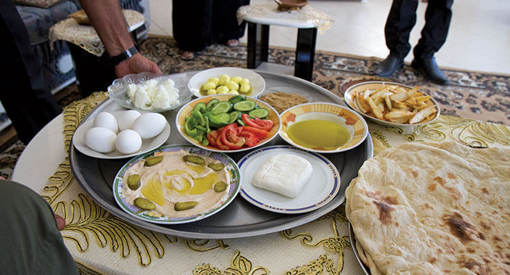 Homestays along the Abraham Path include delicious local food, like this traditional Palestinian breakfast. Photo by David Landis