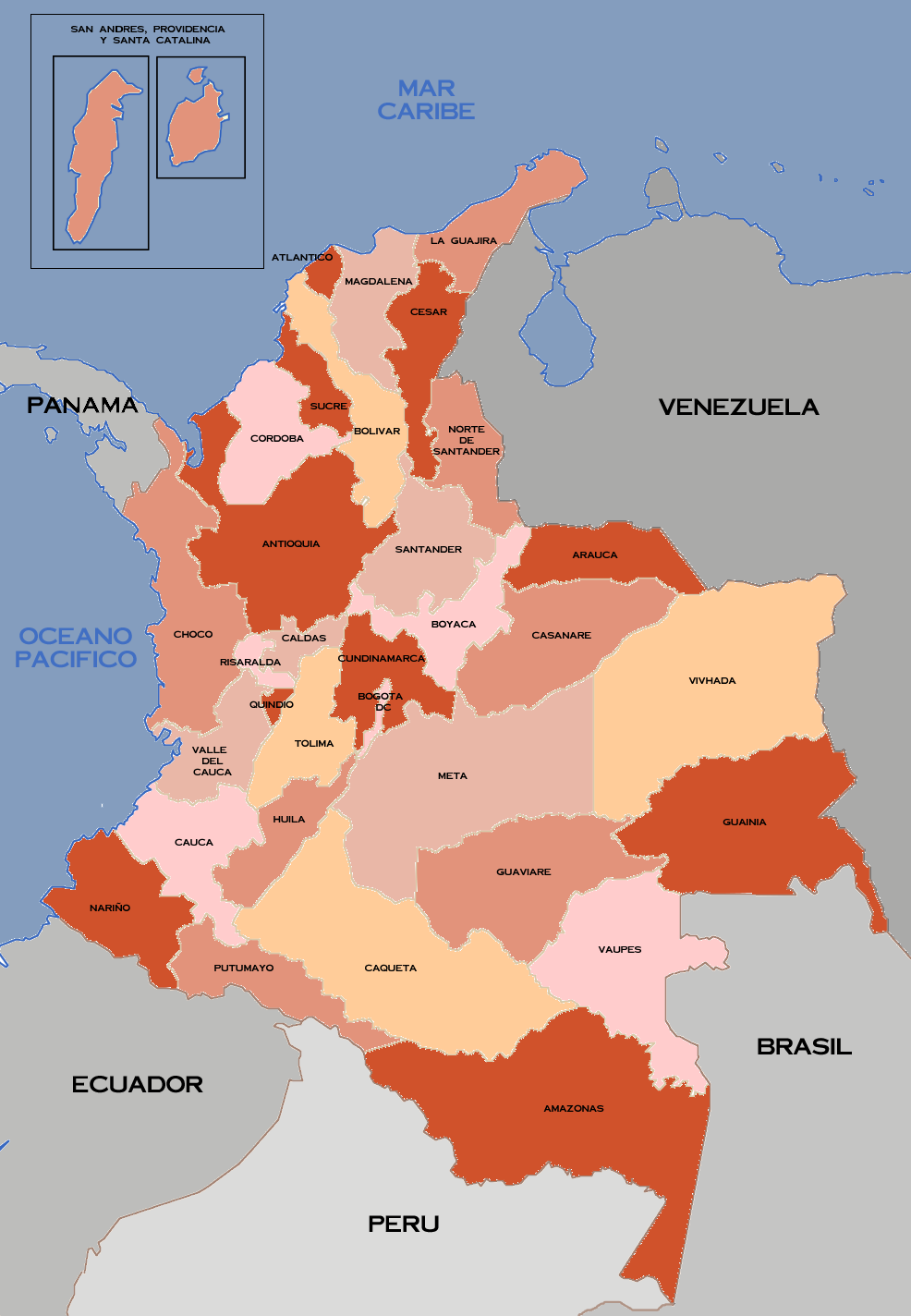 Media credit: F3rn4nd0 via Wikimedia A map of the departments (equivalent to a U.S. state) of Colombia. Cuaca, on of the departments that has suffered great human rights violations at the hands of FARC, is located in the southwest of Colombia, bordering the Pacific Ocean.